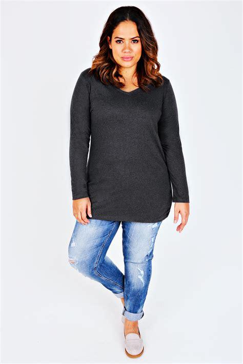 Sleeve V Neck Plain T Shirt grey marl sleeve v neck plain t shirt plus size 16 to 36