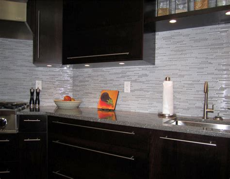 Modern Kitchen Backsplash Tile by Espresso Kitchen With Glass And Marble Mosaic Tile