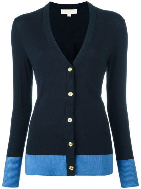 V Neck Buttoned Knit Cardigan lyst michael michael kors v neck buttoned cardigan in blue