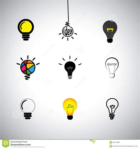 idea pictures vector icons set of different idea light bulbs stock