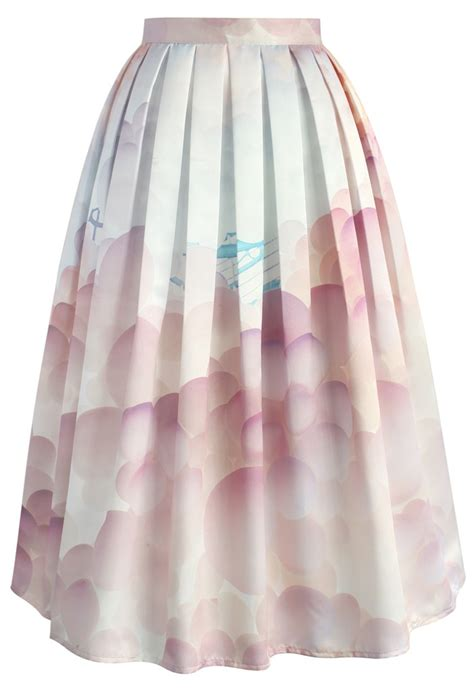 Skirt Balon balloon my day printed midi skirt retro and