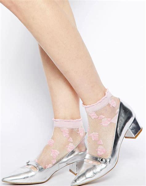 Floral Sheer Socks asos asos floral sheer ankle socks at asos