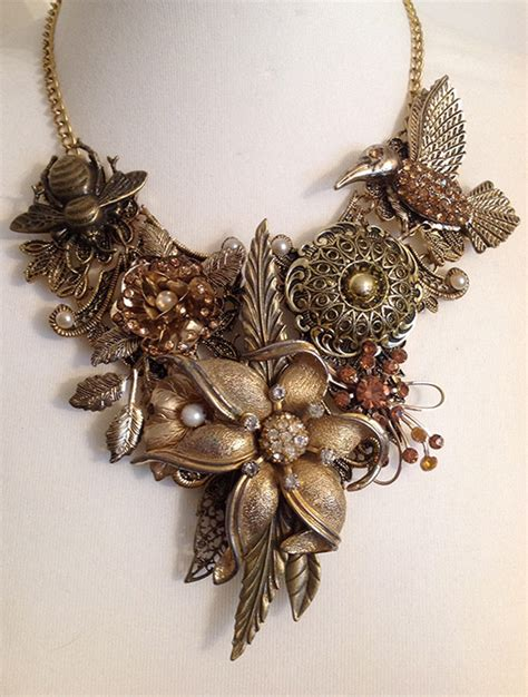 Pansy Brooch Charm Necklace From Eclectic Shock by Louise Pringle Eclectic Shock Reinvented Vintage Jewellery