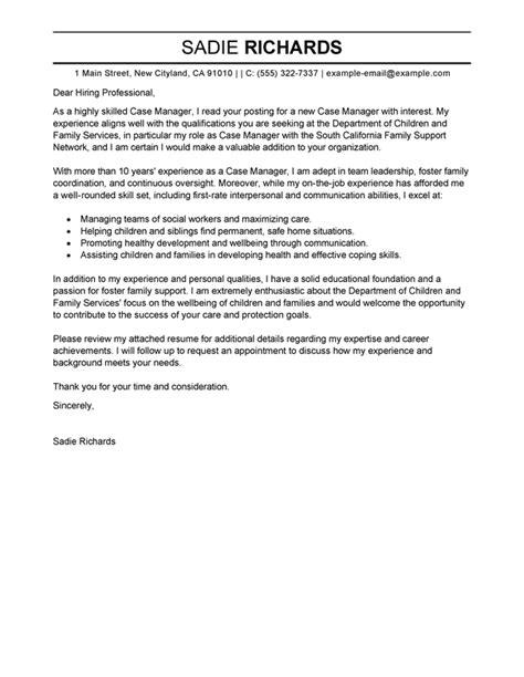 best case manager cover letter exles livecareer