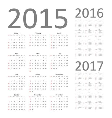 calendar template ai free vector graphics calendar 2015 2016 and 2017
