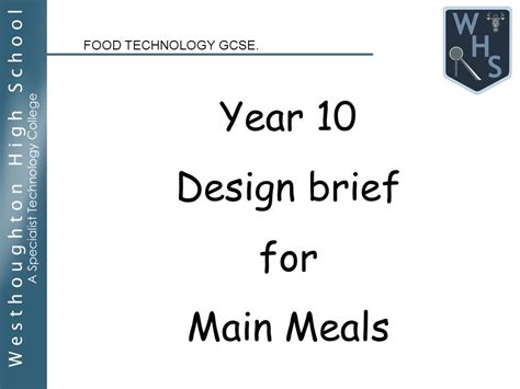design brief ideas for food technology food technology gcse year 10 design brief for main meals