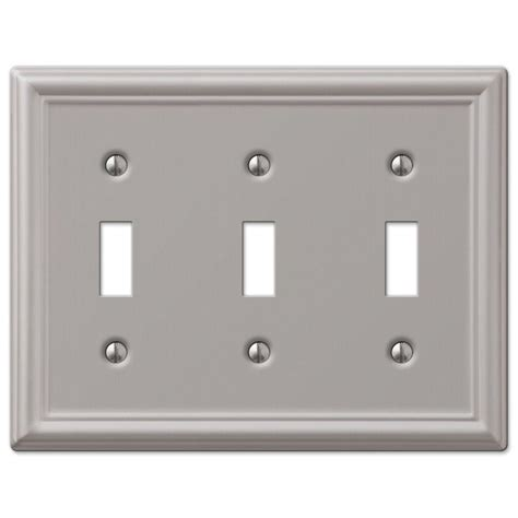 brushed nickel light switch covers hton bay chelsea 3 toggle wall plate nickel 149tttbn