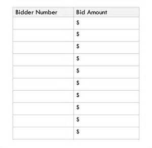 Free Bid Sheet Template by Silent Auction Bid Sheet Template 30 Free Word Excel