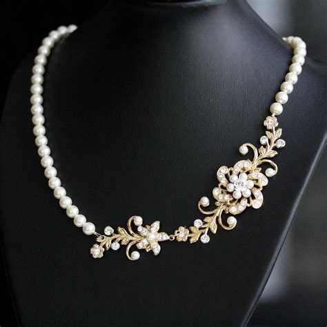 pearl for jewelry gold pearl bridal necklace gold wedding jewelry vintage