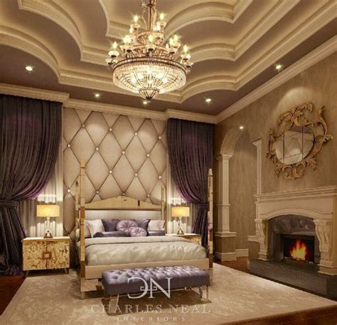 fancy master bedrooms idea to use ceiling chandelier curtains wall panel