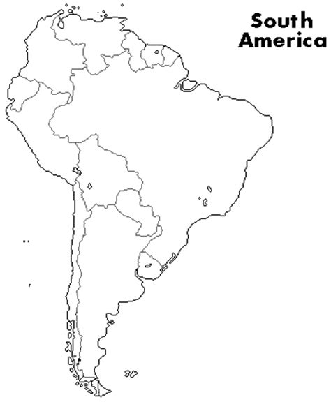 outline map of south america with countries outline maps