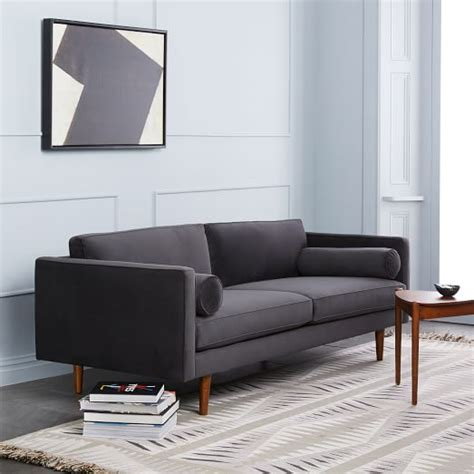 west elm chair with ottoman monroe mid century sofa 80 quot west elm
