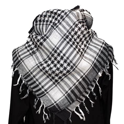 palestinian keffiyeh scarf white on black 163 9 99