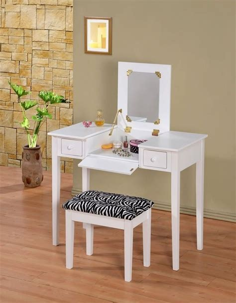 Makeup Vanities by Wooden Makeup Vanity Table Set With Flip Mirror Two Colors