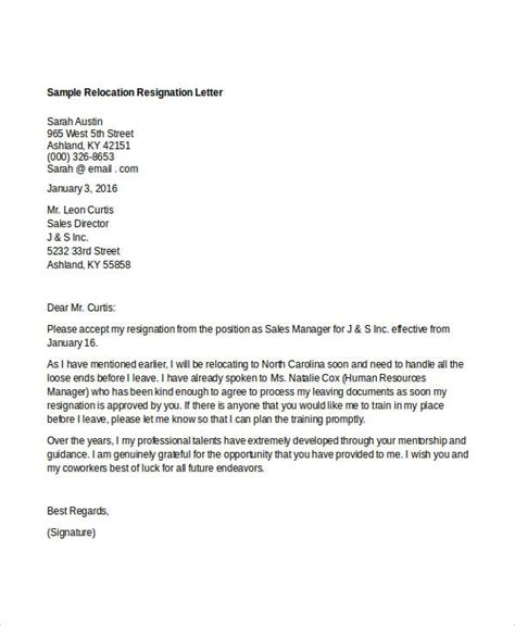 relocation resignation letter word