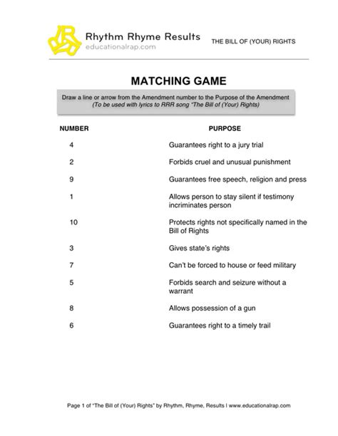 Bill Of Rights Worksheet Pdf by Social Studies Educational Songs Free Worksheets And