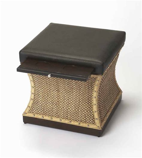 multifunctional ottoman leather tray top multifunctional riveted woven patterned