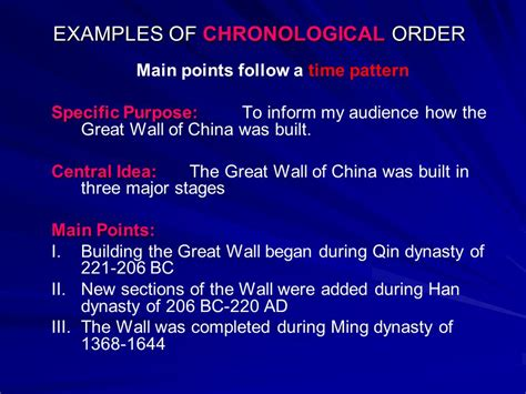exles of chronological order ppt