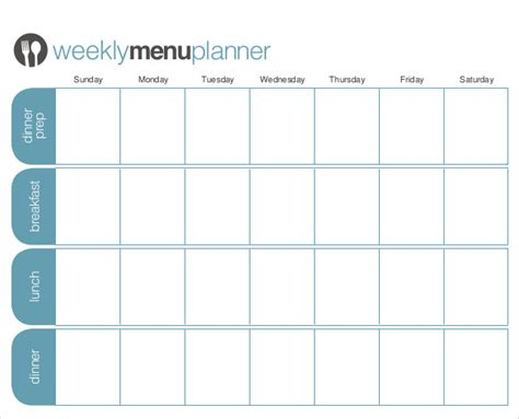 weekly planner template pdf 18 menu planner templates free sle exle format
