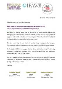 thank you letter to meps who supported the written