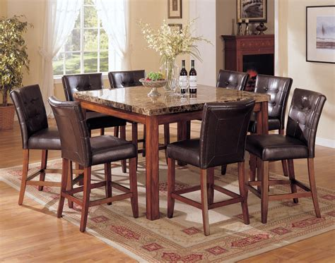 7 pc square dinette dining room set table with 6 wood seat acme bologna 7 pc marble top square counter height dining
