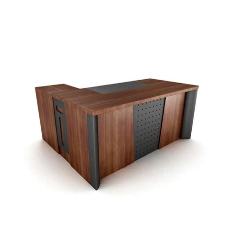 Black Wood Office Desk by Wooden Office Desk With Black Inset Panels 3d Model