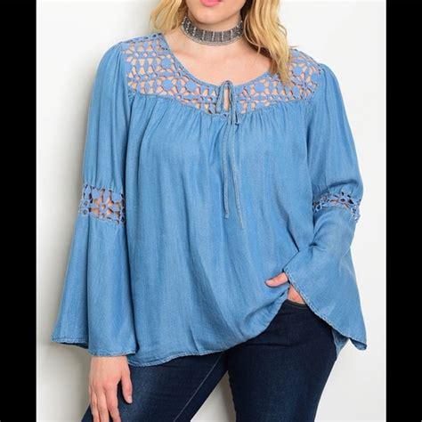 Tdn2kzs White Tops Big Size Blouse Baju Besar Atasan Putih Polos denim peasant blouse lus size lace henley blouse
