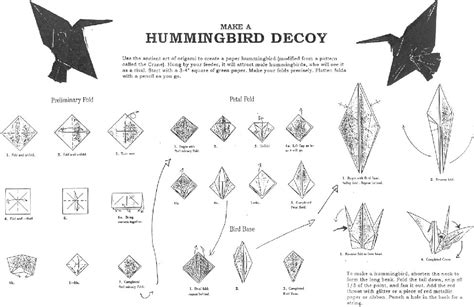 origami hummingbird journey north hummingbirds template