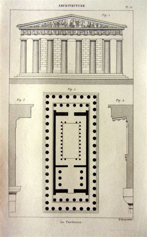 floor plan of parthenon 1852 antique architecture print of the parthenon floor