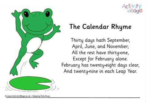 Calendar Rhyme Calendar Rhyme Poster