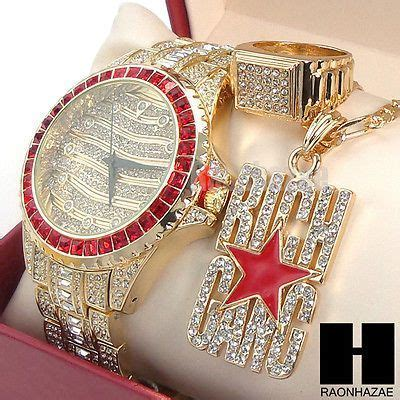 HIP HOP RICH GANG RUBY ICED OUT WATCH W/ Full CRYSTALS