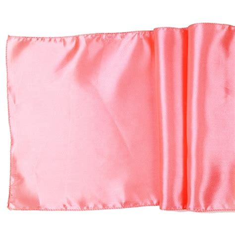 satin table runner solid coral