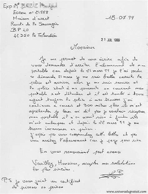 Exemple De Lettre Ecrite A Des Prisonnier Modele Lettre A Un Prisonnier Document