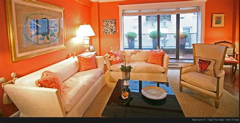 the modern home decor interior orange color painting
