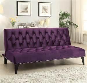 Velvet Sofa Bed 500235 Purple Plush Velvet Futon Sofa Bed With Nail Design