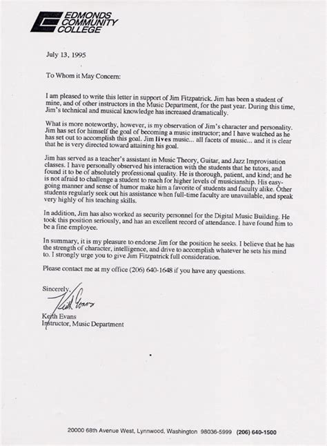 College Letter Of Recommendation Exle College Letter Of Recommendation
