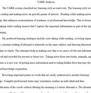 Visual Learner Essay by Vark Analysis Paper Regent Essays