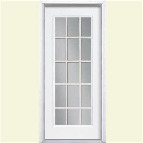 Steel Exterior Doors Home Depot Masonite 32 In X 80 In 15 Lite Primed Steel Prehung Front Door With Brickmold 45852 The Home