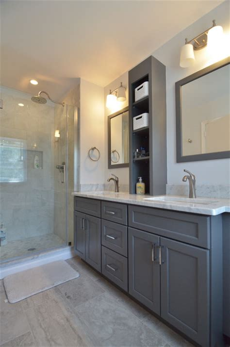 white and grey bathroom houzz classic white and gray bathroom renovation transitional