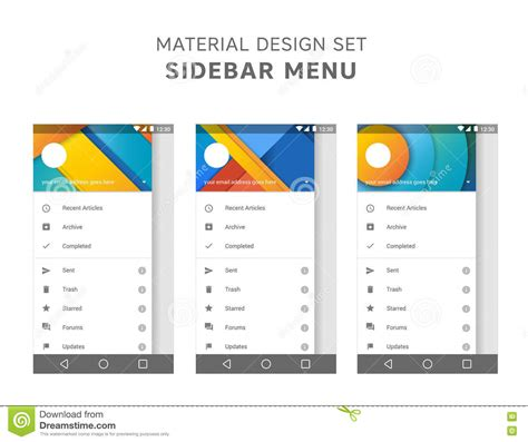 android material design layout shadow vector set of material design sidebar menu templates mail
