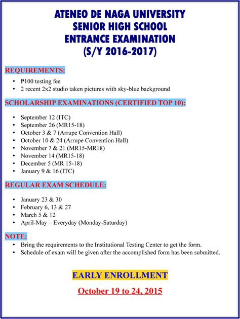 Ateneo Mba Entrance Reviewer by Adnu Senior High School Entrance Schedule Ateneo De