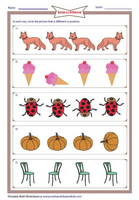 kindergarten activities same and different same and different worksheets
