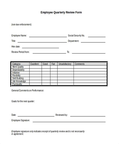 quarterly employee review template sle employee review form 10 free documents in doc pdf