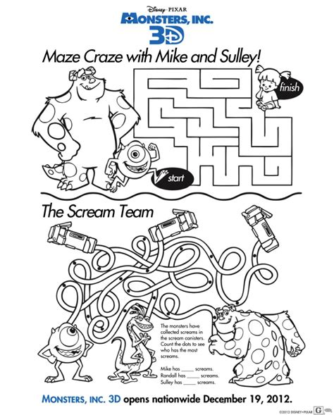 monsters inc coloring pages pdf fun family activity sheets monsters inc monsters inc