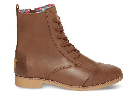 brown womans boots lyst toms brown leather s alpa boots in brown
