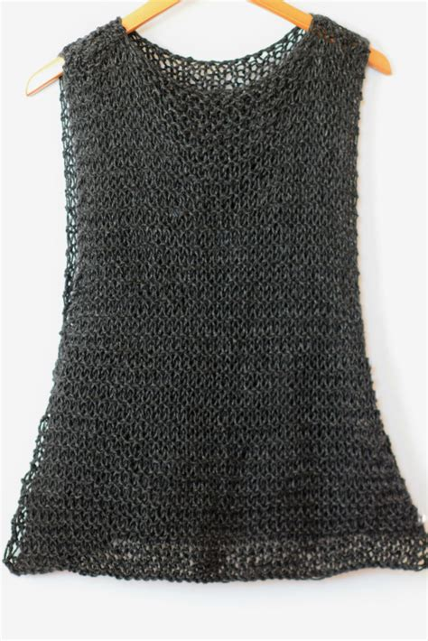 knit a tank top easy quot black quot tank top knitting pattern in a