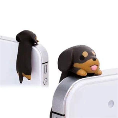 erafone headset adorable black brown hanging dachshund dog dust plug 3 5mm