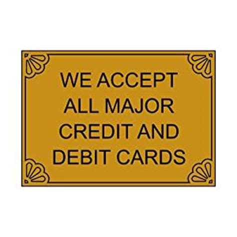 Amazon Gift Card Accepted Stores - amazon com we accept major credit debit cards engraved sign egre 17994 blkongld