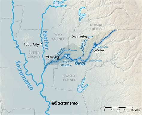 california map rivers river feather river