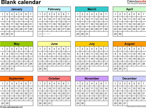 1 Year Calendar Template word template for blank calendar landscape orientation 1